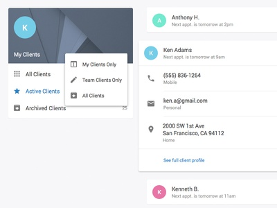 Session App - Clients with Material Design