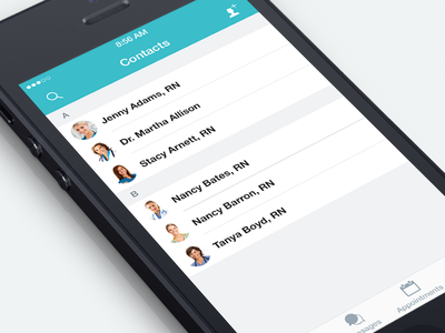 Connect iPhone app - Contacts Screen