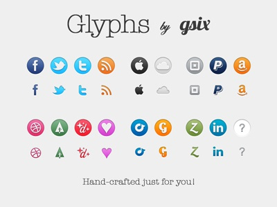 Glyphs By GSIX v1.5 icons freebies download social icons social media icon set