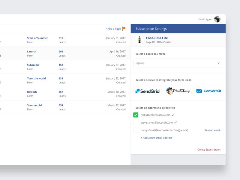 Leads2Email - Facebook leads ad product ui design web design responsive design app web webapp