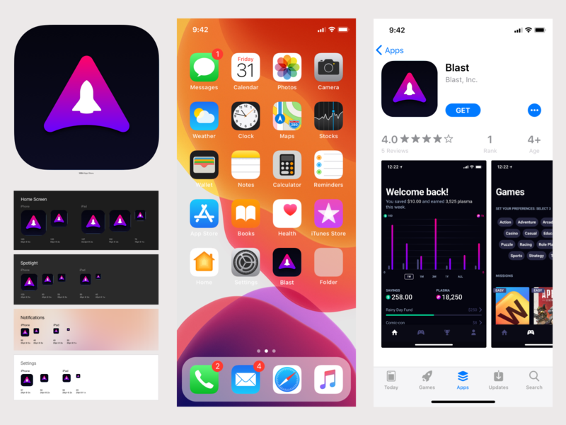 Blast iOS App icon and App Store assets dark mode dark ui dark spaceship space spaced icon product design product uiux gaming fintech app store icon app store ios