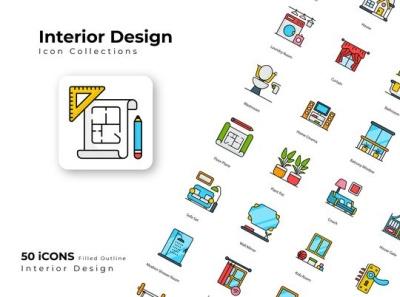 Interior Design icons flat website web branding vector design illustration icon illustraion iconset icon set icon design icons