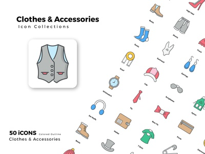 Clothes   Accessories vector flat iconset icons design icon set icon
