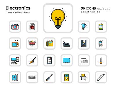 Electronics icons illustration ui flat icon iconset logo vector icon set design icons led icon tube light icon keyboard icon power icon iron television camera ups light blub