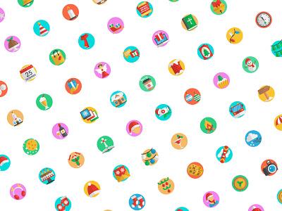 Christmas icons illustration flat vector icon set icons design iconset icon