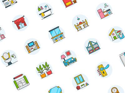 interior Design icons illustration flat vector icon set icons design iconset icon
