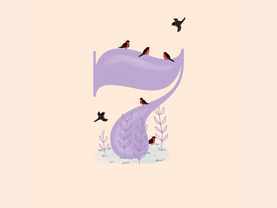 7 - 36 Days of Type nature colors winter robins red birds animals cute illustration design visual 36daysoftype
