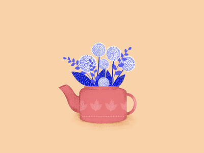 Teapot Flowers logo botanical drawthisinyourstyle color hand drawn vase pink pot lilac spring flowers branding travel italy nature illustration design visual