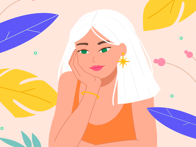 Summer Dreaming cute artist india italy expression face fun with faces illustration tangerine aesthetic lips pink leaves tropical moon sun hair white girl woman