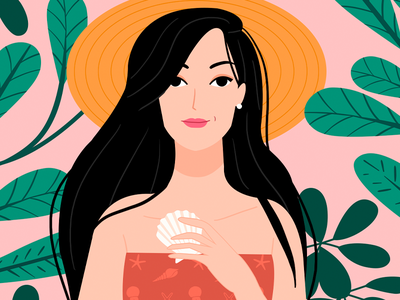 Collecting Sea Shells holiday spain summer italy travel tropical nature brunette skillshare faces fun character pattern beach party woman beach sun ocean sea seashells