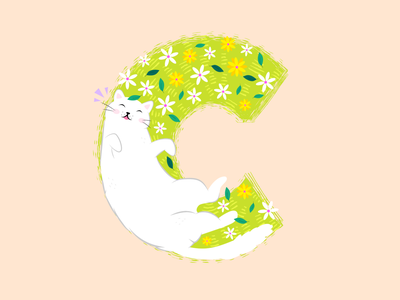 Cat in the Garden creative milan procreate cute animals travel daisy flowers 2021 spring garden kitten cat caturday cats illustration typography 36daysoftype08 36daysoftype07 36daysoftype