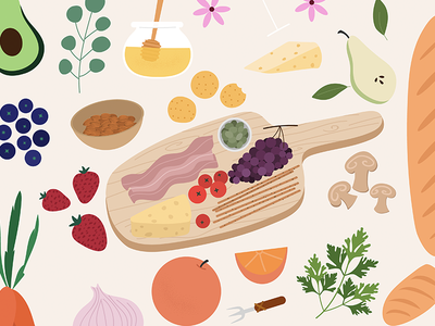 Sunday Brunch - Food Illustration picnic platter charcuterie aperitivo spain procreate bacon mushrooms blueberries honey bread french italy wine oranges cheesecake food illustration food brunch sunday