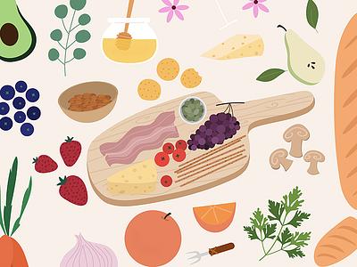 Sunday Brunch - Food Illustration picnic platter charcuterie aperitivo spain procreate bacon mushrooms blueberries honey bread french italy wine oranges cheesecake food illustration food brunch sunday