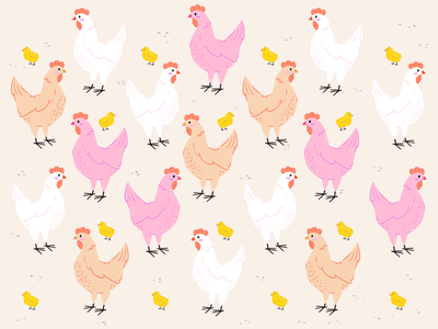 Hen Party party illustrator procreate digital illustration barn chicken surface pattern design nature cute illustration travel chicks birds animals farm pattern bride bachelorette hen party hens