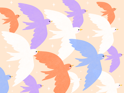 Birds in the Sky night clouds sky aesthetic aww animation sparkle milan artists dove cute italy travel design visual illustration birds