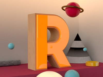 3D colour cinema 4d r letter typeface 3d