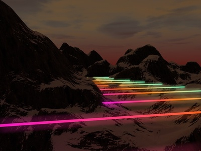 Neon Nights night dark glow materials lighting neon colour mountains design 3d abstract render