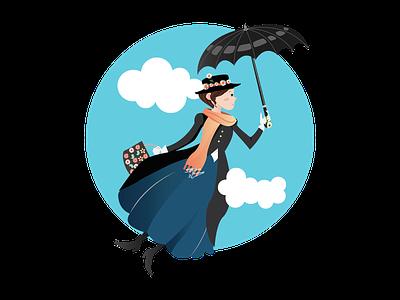 Mary Poppins Flat Illustration london adobe illustrator illustration flat fanart disney design mary poppins