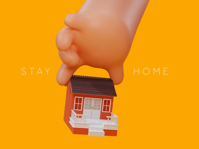 Stay Home safe covid 3d hand house home