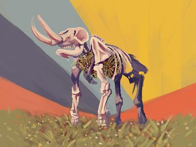 Mastodonts flower mammoth fossil nature illustration