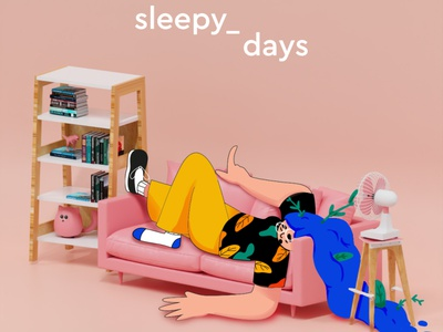 Sleepy character design design character composition 2d 3d illustration