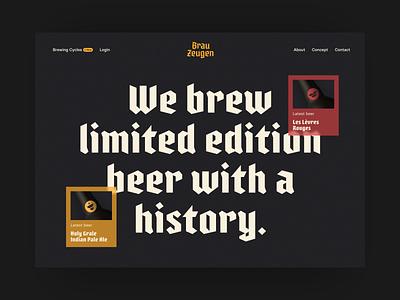 Brauzeugen – Micro Brewery Landing Page beer bottle website dark ui dark web design typography design brewery beer landing ui ux landing page