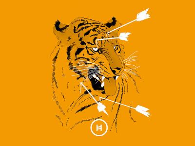 My first shot - Tiger Cartel orange arrows rock music minimalistic tiger illustration