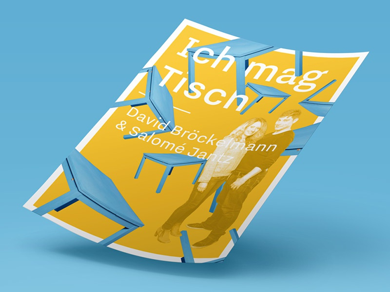 Ich mag Tisch - I like table typography acting poster play comedy table