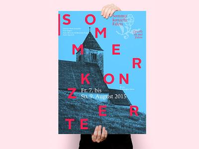 Sommerkonzerte Falera flower swiss design typography logo illustration cello violin quartet string music classical