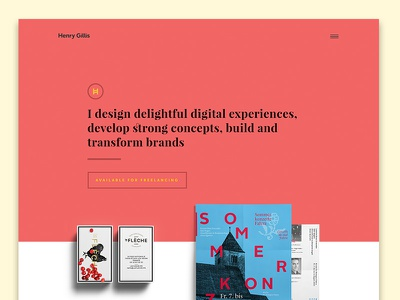 Portfolio redesign red colorful branding shadow minimal web design ui redesign portfolio