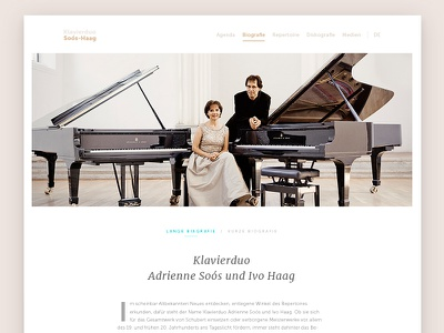 Klavierduo Biography initial clean classical web design ui minimal branding