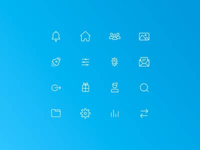Line Icons gradient white minimal quirky illustration line icons blue line icons