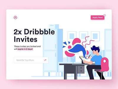 Two Dribbble Invites invite invites dribbble invites dribbble invite branding landing page vector colorful clean typography ui web design illustration minimal
