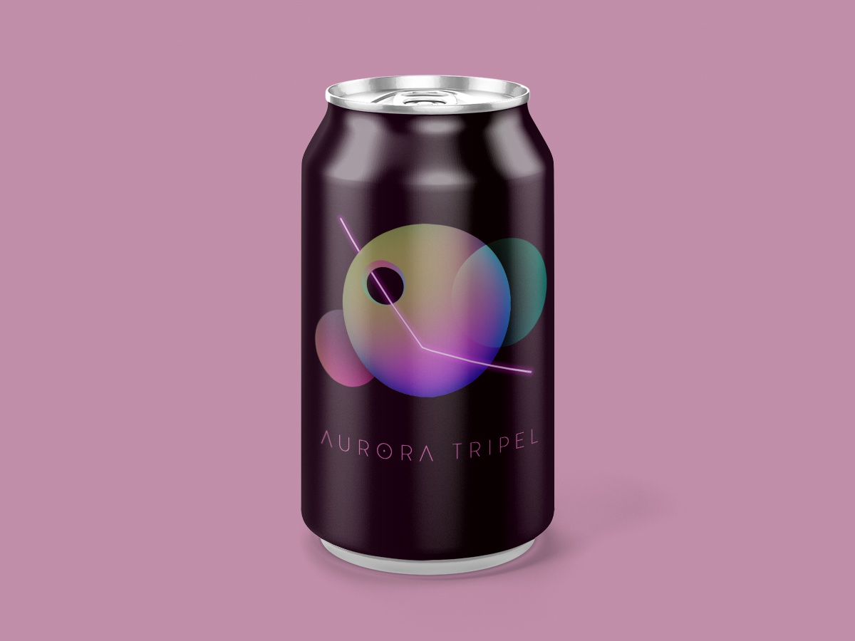 Aurora Tripel Can beer can character adobe photoshop type lettering label design label illustrator clean beer branding identity flat typography minimal logo branding beer brand graphic design design