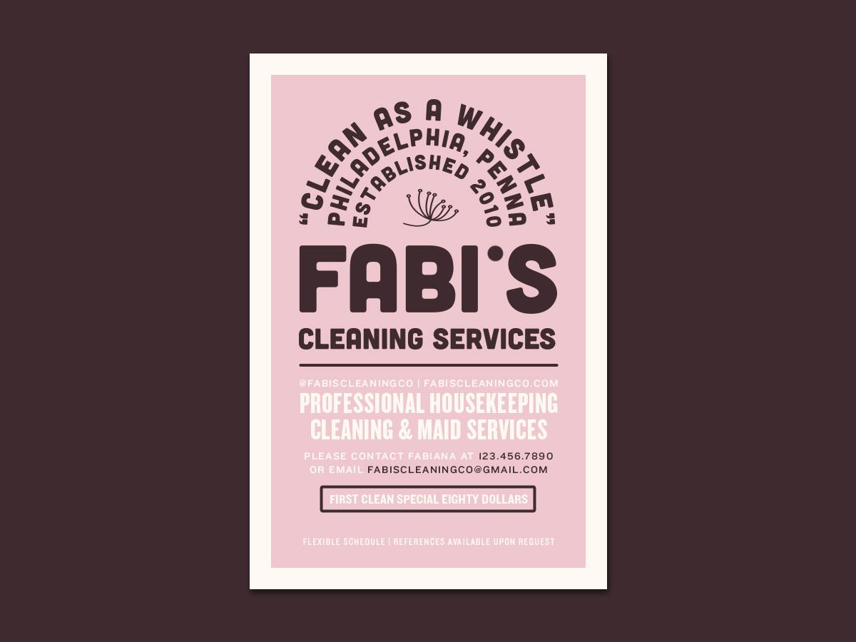 Fabi's Cleaning Co. flyer design flyer logo photoshop type lettering label design label flat clean character identity illustrator adobe photoshop typography minimal branding brand graphic design design