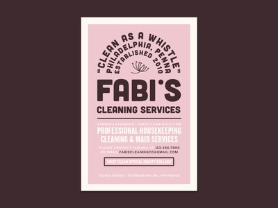 Fabi's Cleaning Co. flyer design flyer logo photoshop type lettering label design label flat clean character identity illustrator adobe photoshop typography minimal branding brand graphic design design