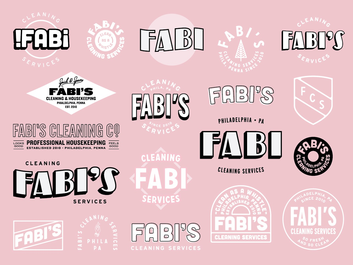 Fabi's Cleaning Co. visual identity exploration ideation icon type lettering flat illustration clean character illustrator identity adobe photoshop typography minimal logo branding brand graphic design design