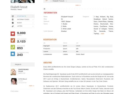 Social music profile web ui website webapp profile music social community menu white grid table