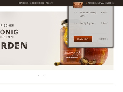 Honey Shop shop honey dropdown menu shopping cart shopping cart