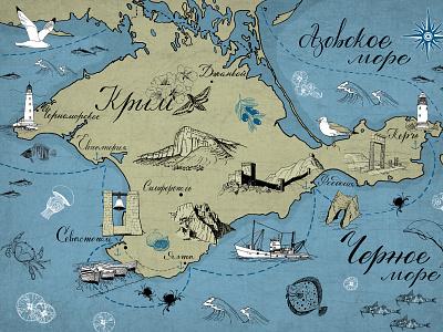 The Illustrated Map of Crimea sea animals element map design illustration