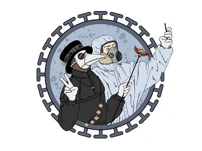Doctors design logo illustration beak mask fun humor medical medicine garlic mobile circle coronavirus friends plague doctor selfie doctor