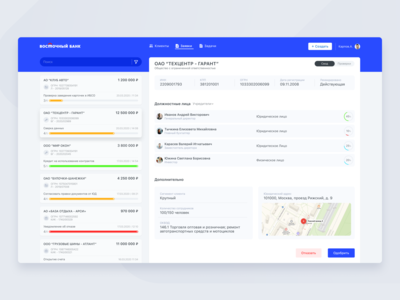 Dashboard Vostochny bank #1 admin panel web product service crm web design design saas product design bank panel ui dashboard