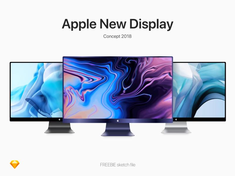 Apple New Display Concept blue black silver thunderbolt display apple vector free sketch freebie mockup concept