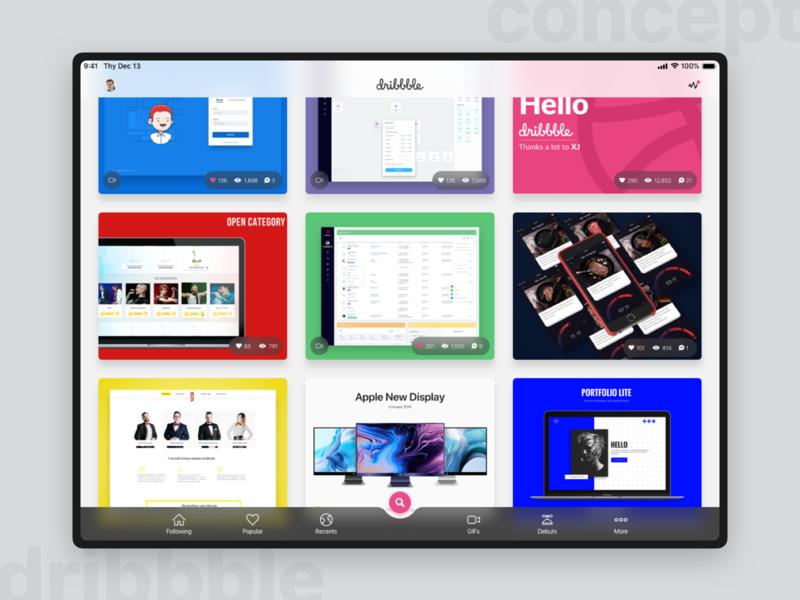Dribbble apps for Tablet - Main page (concept 2018) streamline tablet sketch concept ux ui concept homepage graphic dribbble app dribbble design app