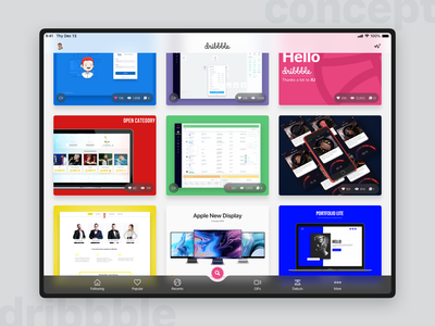 Dribbble apps for Tablet - Main page (concept 2018) streamline tablet sketch concept ux ui concept homepage graphic dribbble app dribbble design app