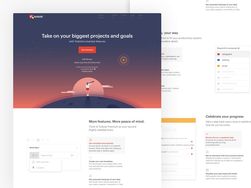 Premium Page Design by Wallace Chao for Doist on Dribbble