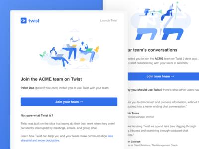 Twist Invitation Emails teamwork communication productivity todoist doist twist