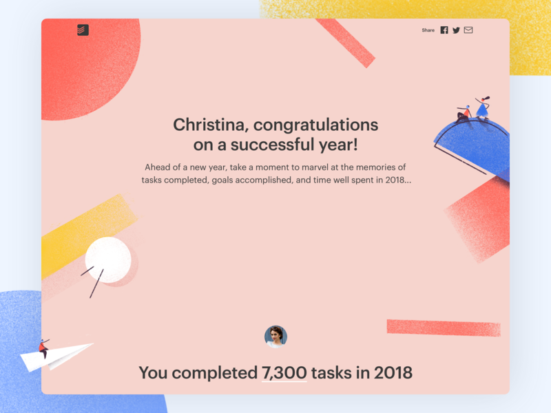 2018 Year in Review year in review project real live app icon todoist task management todo ui productivity