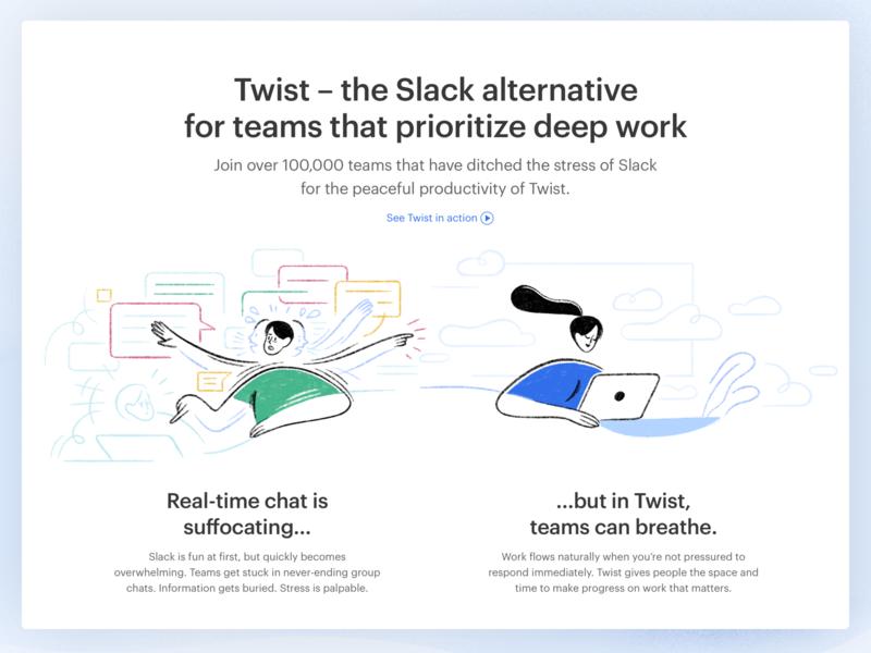 Twist vs Slack app live project real work ux twist team remote windows web android ios interaction doist ui communication