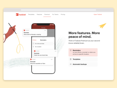 Todoist Foundations Landingpage – Premium details